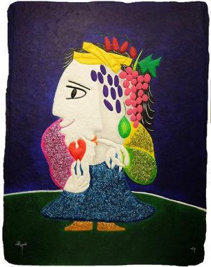 Chica con frutas y corazon